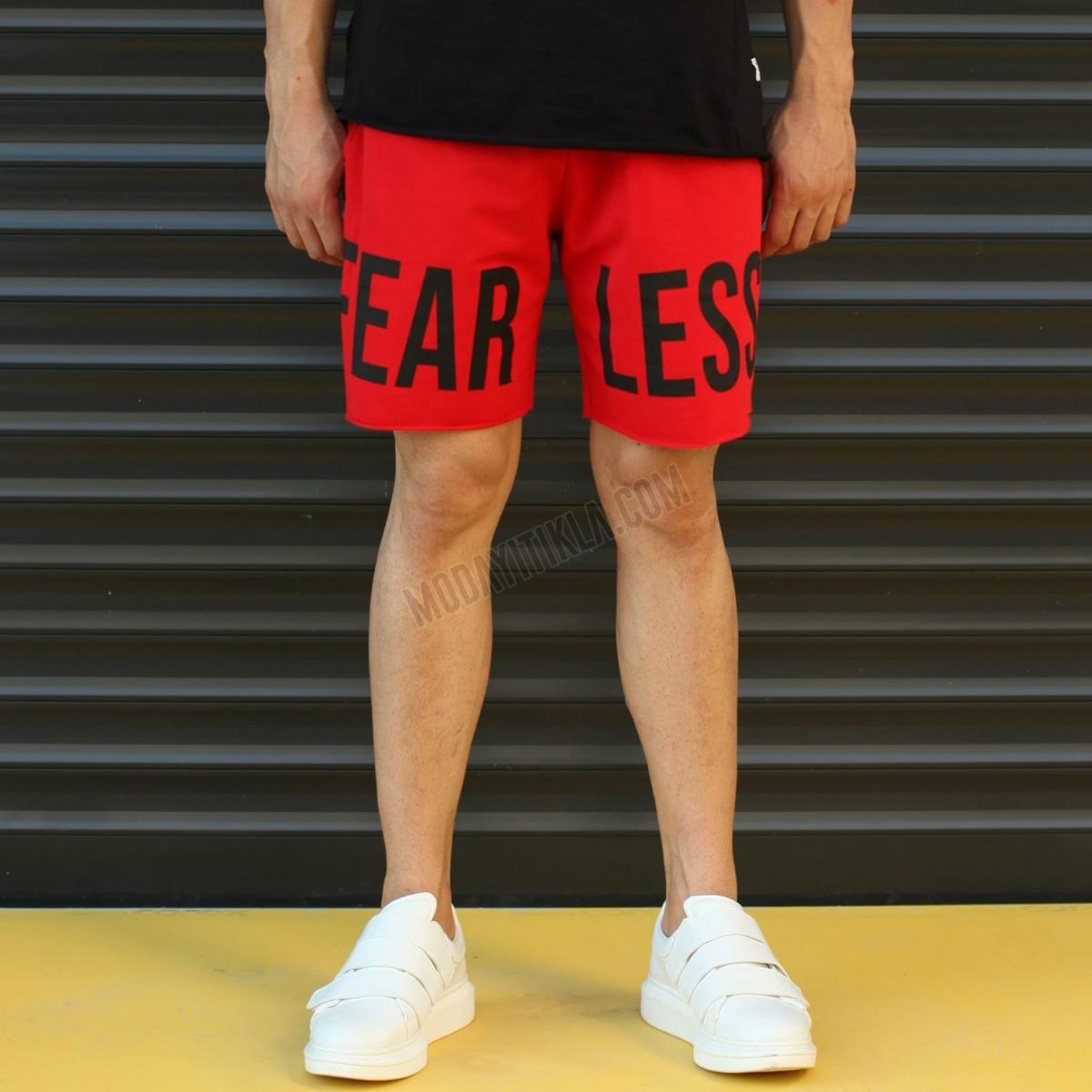 Erkek Fearless Yazılı Sport Polar Kırmızı Şort