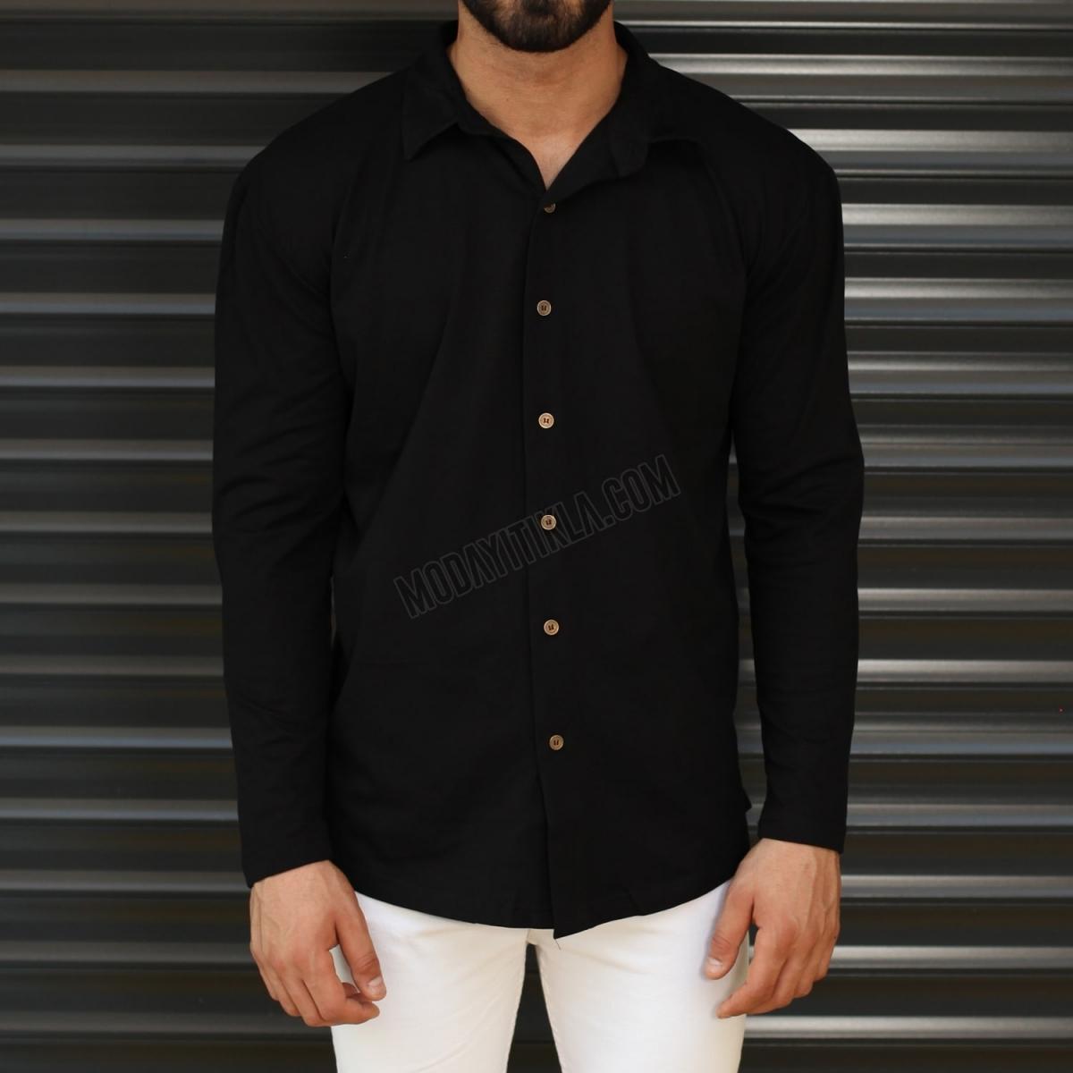 Erkek Likralı Siyah Spor Gömlek