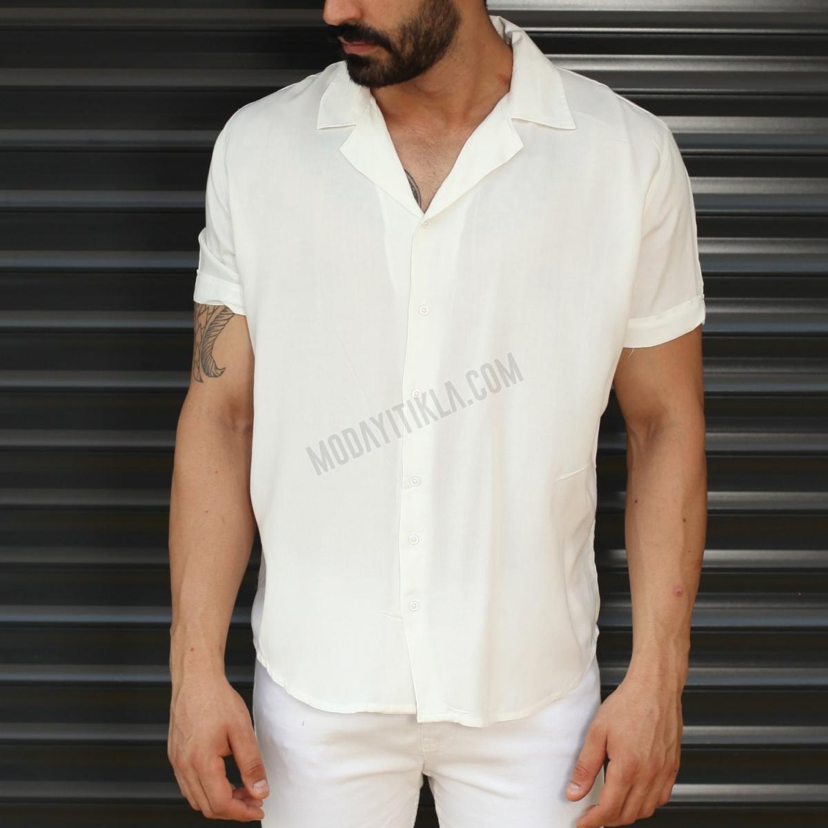Erkek Kısa Kollu İnce Kumaş Beyaz Gömlek