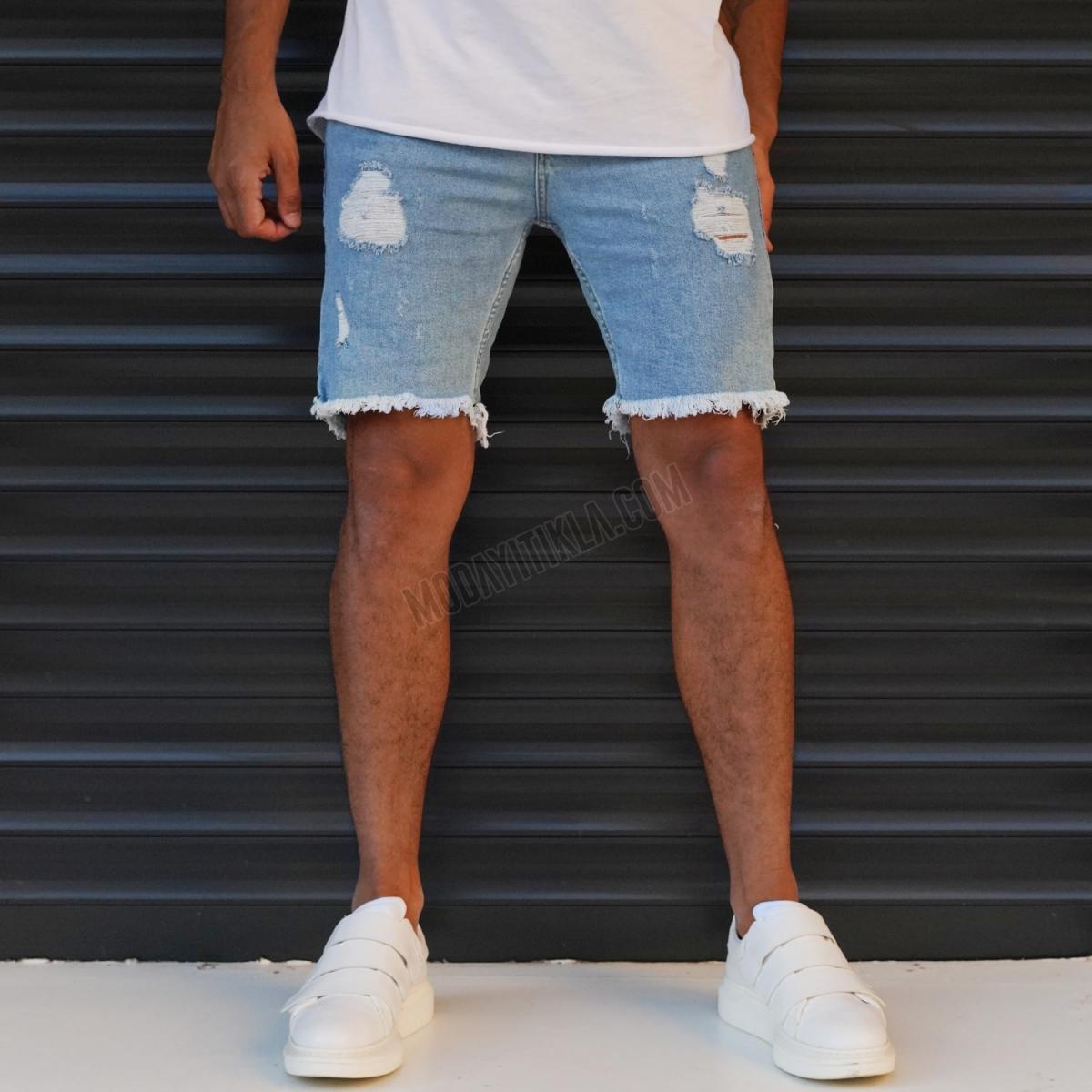 Erkek Taşlamalı Blue Jeans Sport Şort