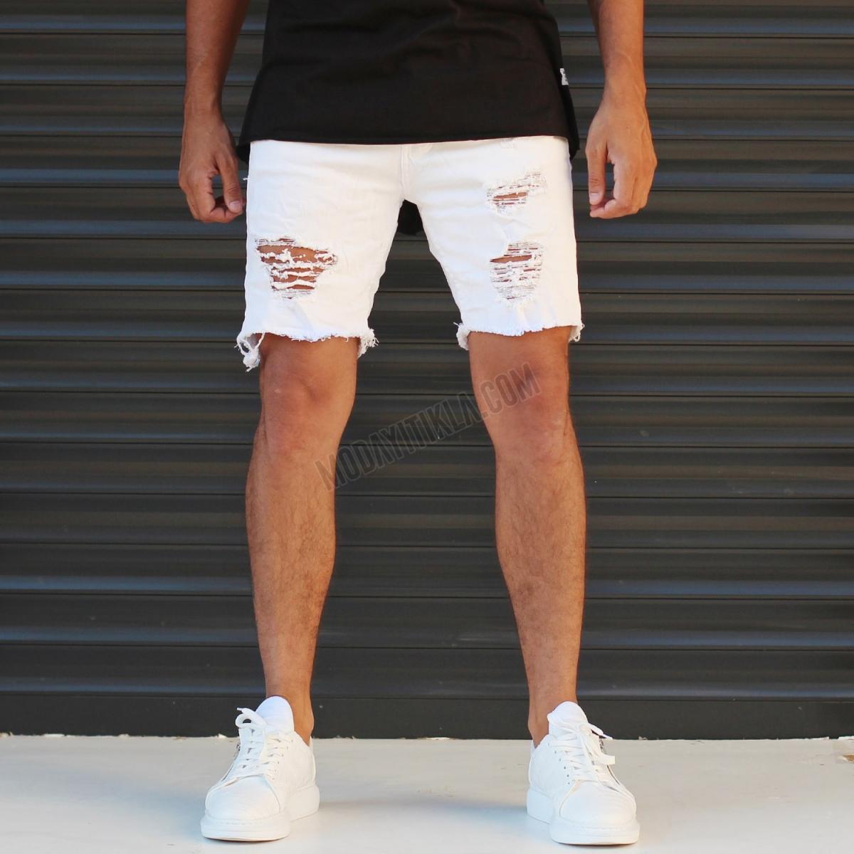 Erkek Taşlamalı Beyaz Jeans Sport Şort