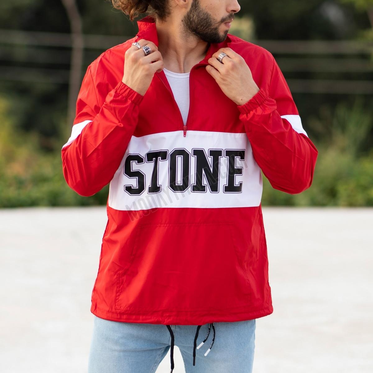 Erkek Stone Fermuarlı Kırmızı Yağmurluk