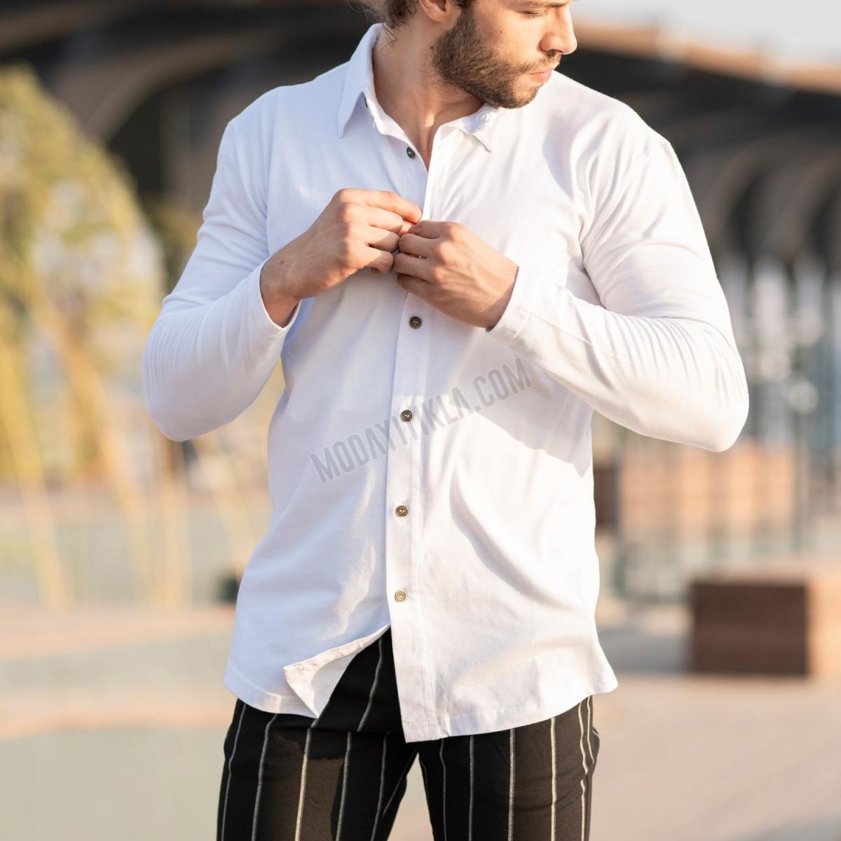 Erkek Koton Kumaş Beyaz Spor Gömlek