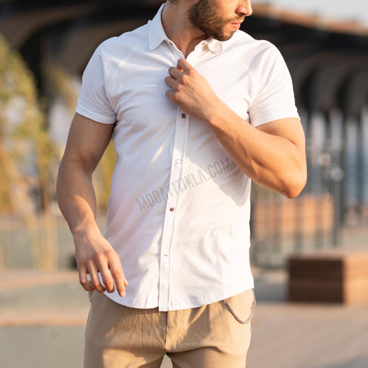 Erkek Kısa Kollu Koton Kumaş Beyaz Spor Gömlek
