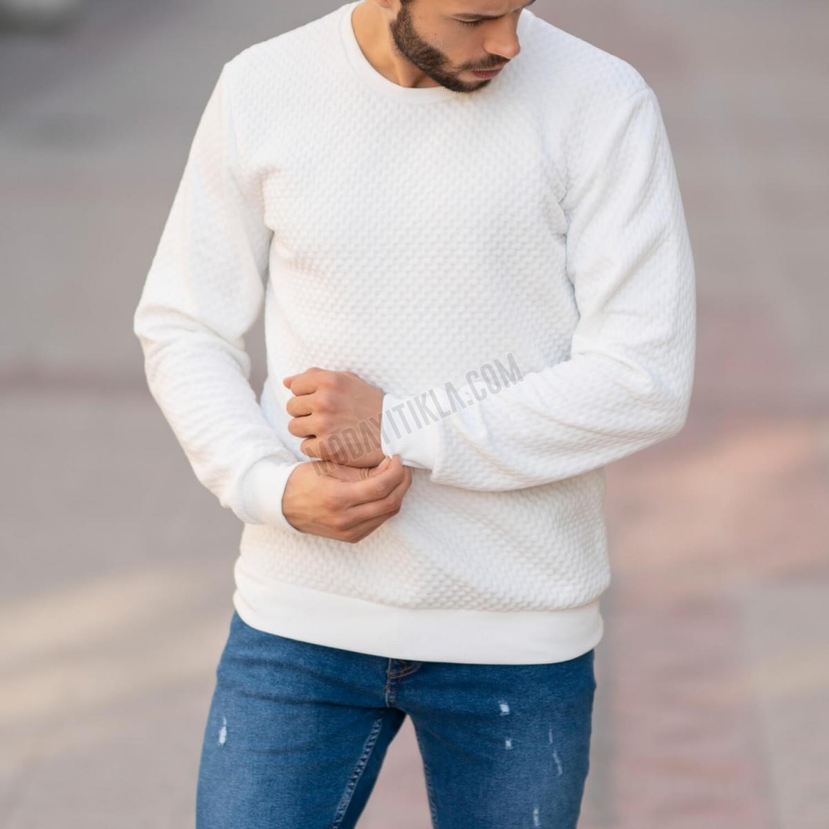 Erkek Tuğla Desen Beyaz SweatShirt