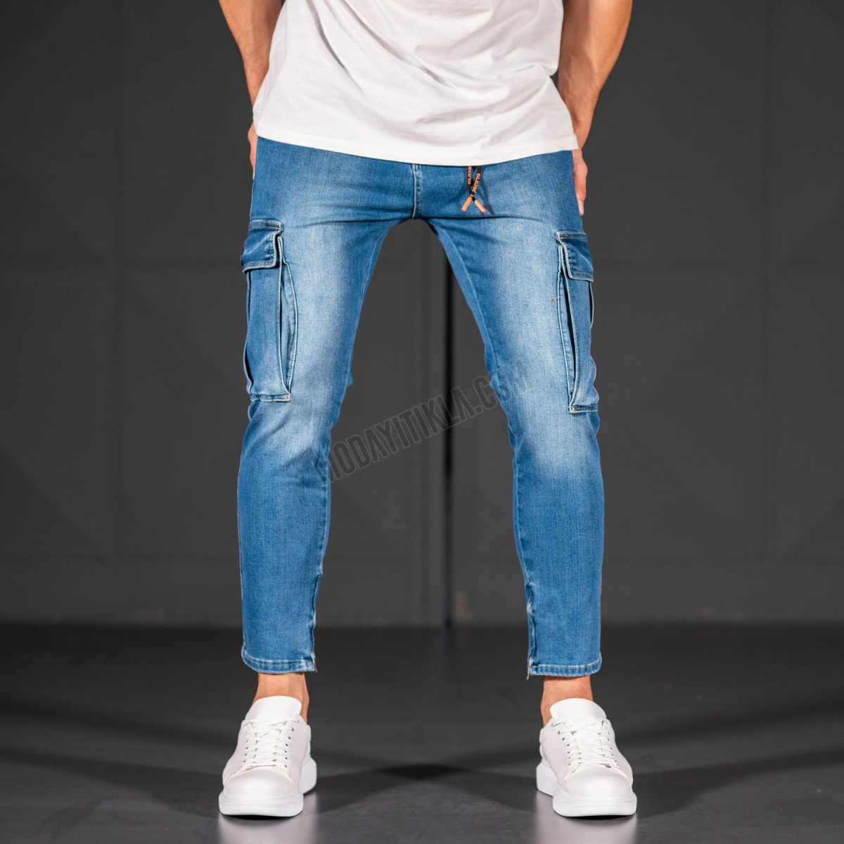 Erkek Dar Paça Kargo Cep Jeans
