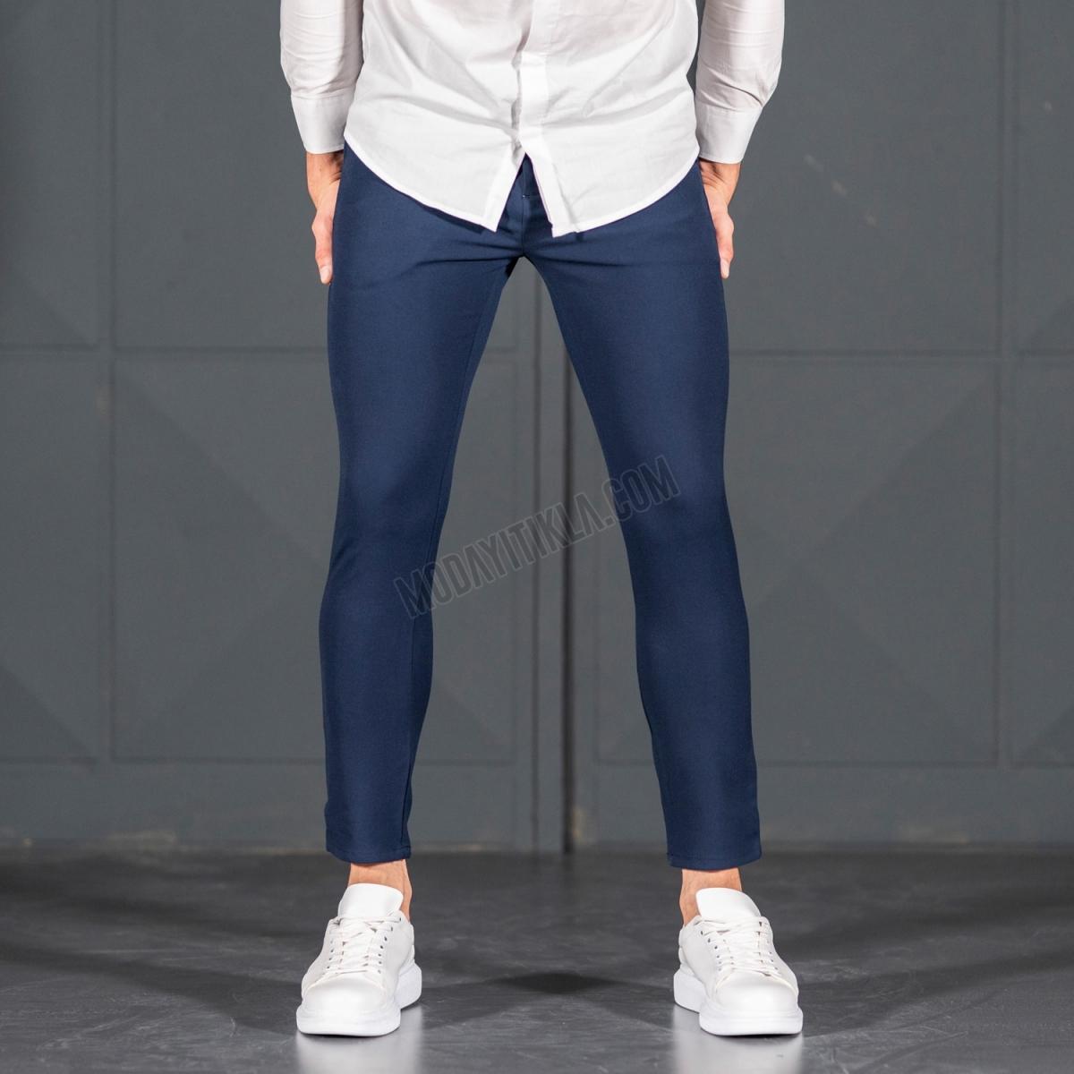 Erkek Dar Paça Fit Lacivert Kumaş Pantolon