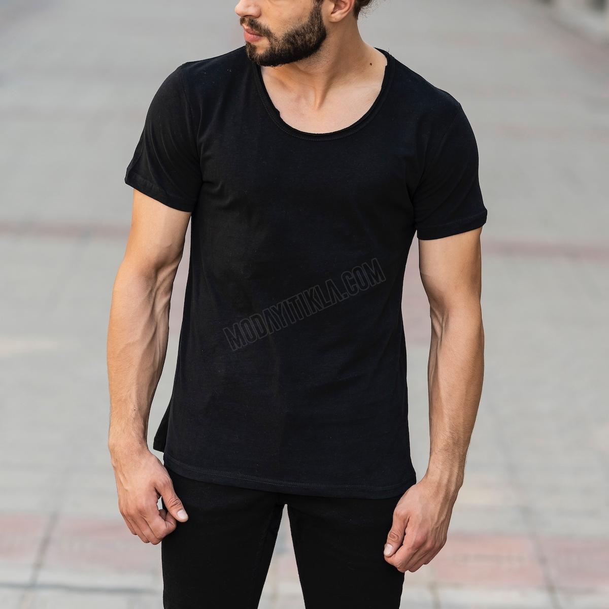 Erkek Basic Kesik Yaka Tişört Siyah