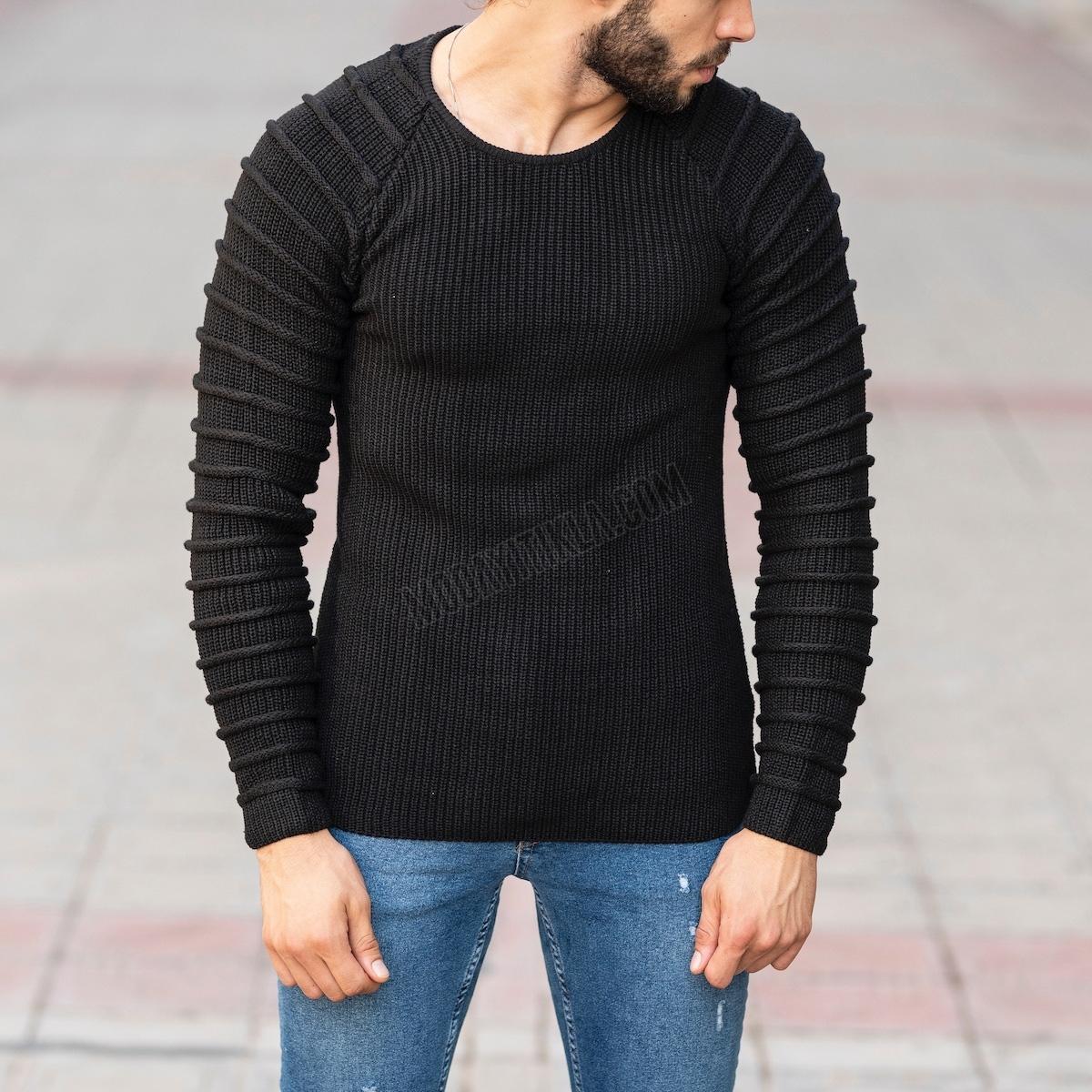 Kapitone Detaylı Siyah Sweatshirt