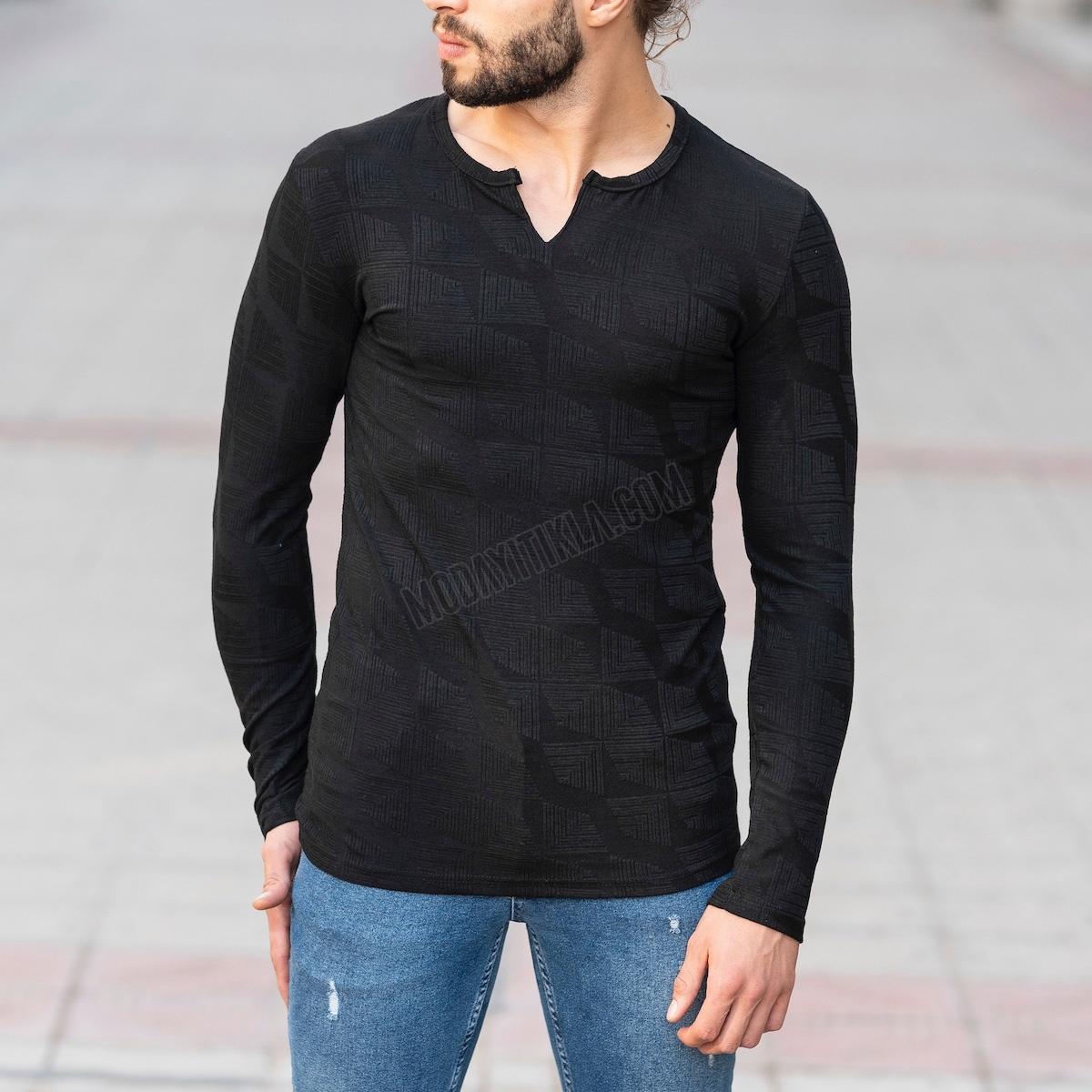 Erkek V Boğazlı Etnik Desenli Siyah Sweatshirt