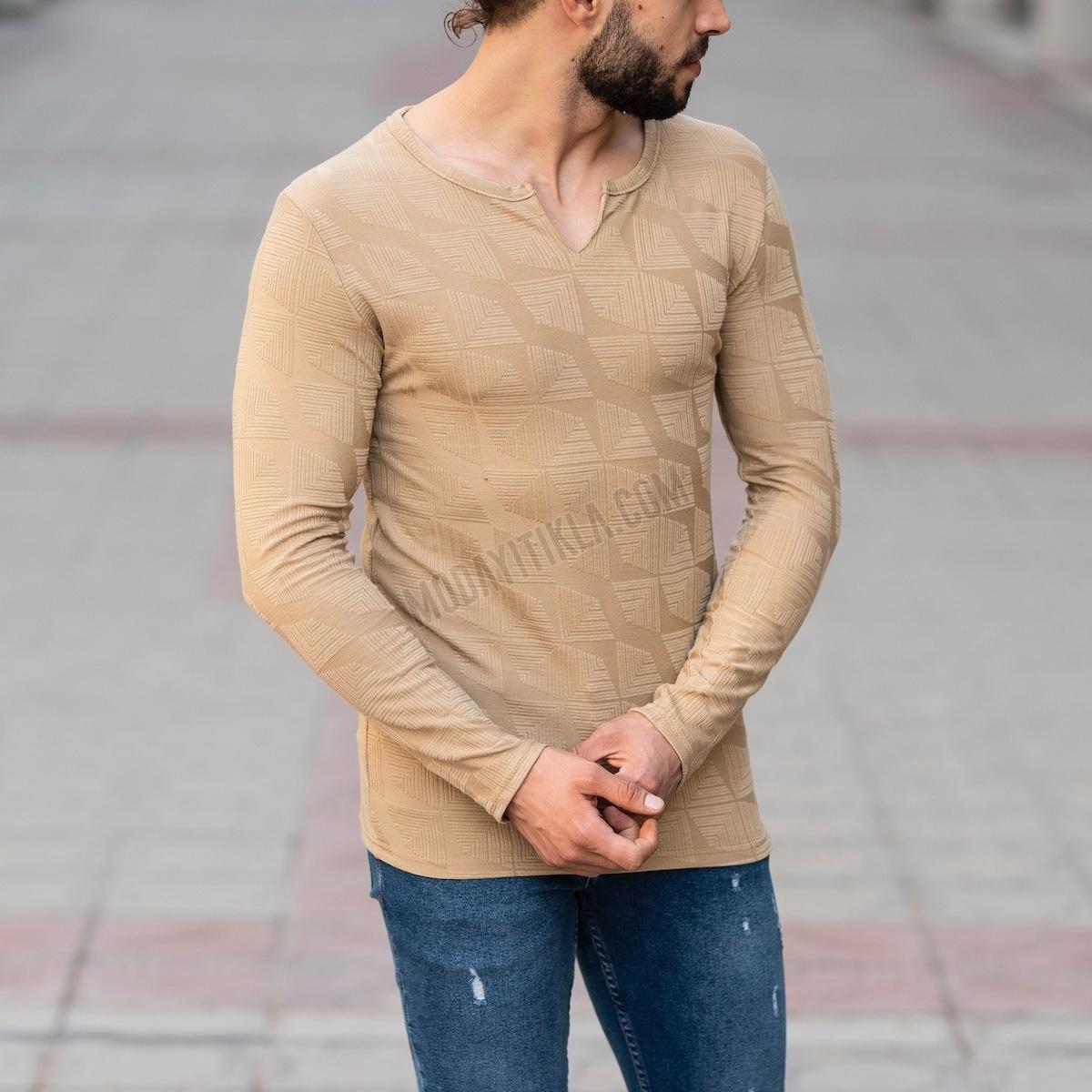 Erkek V Boğazlı Etnik Desenli Vizon Sweatshirt
