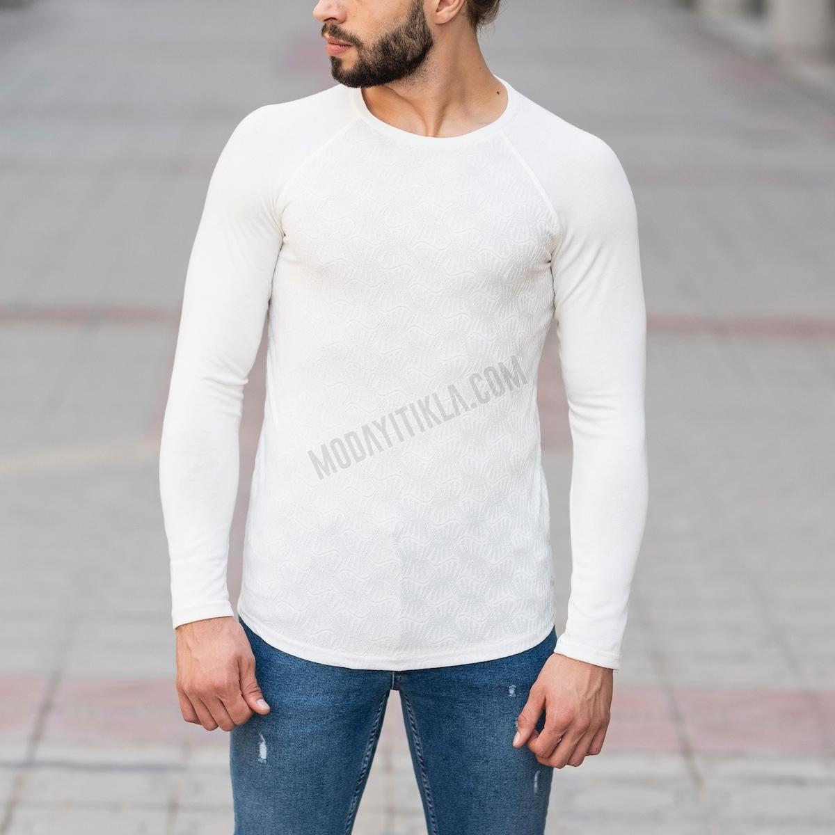 Erkek Etnik Desenli Beyaz Sweatshirt