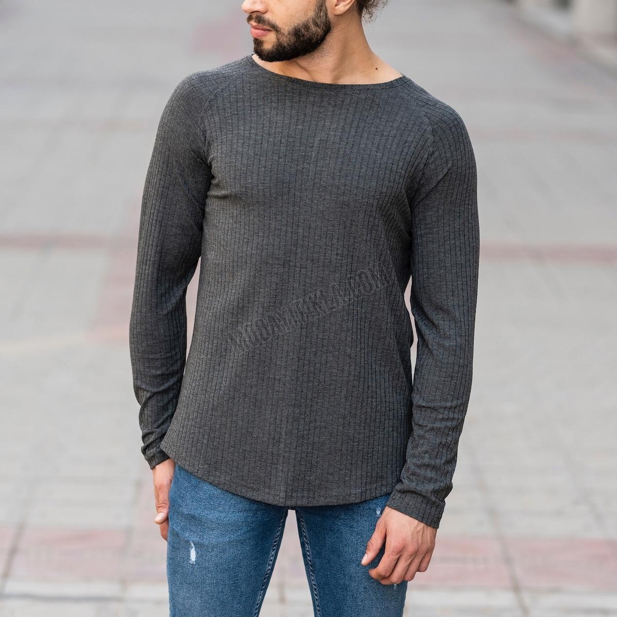 Erkek Şerit Detaylı Füme Sweatshirt