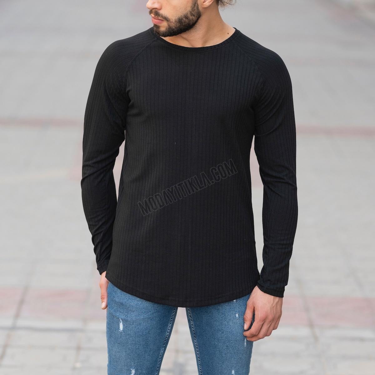Erkek Şerit Detaylı Siyah Sweatshirt