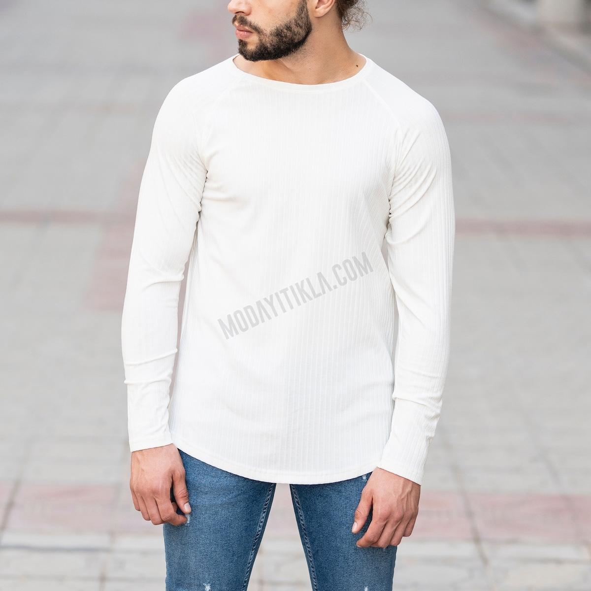 Erkek Şerit Detaylı Beyaz Sweatshirt