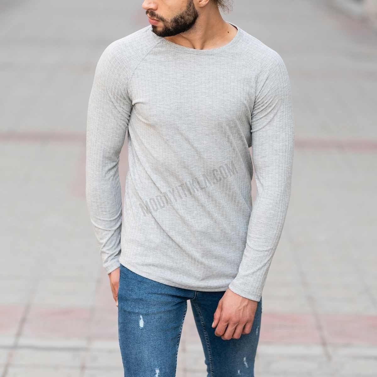 Erkek Şerit Detaylı Gri Sweatshirt