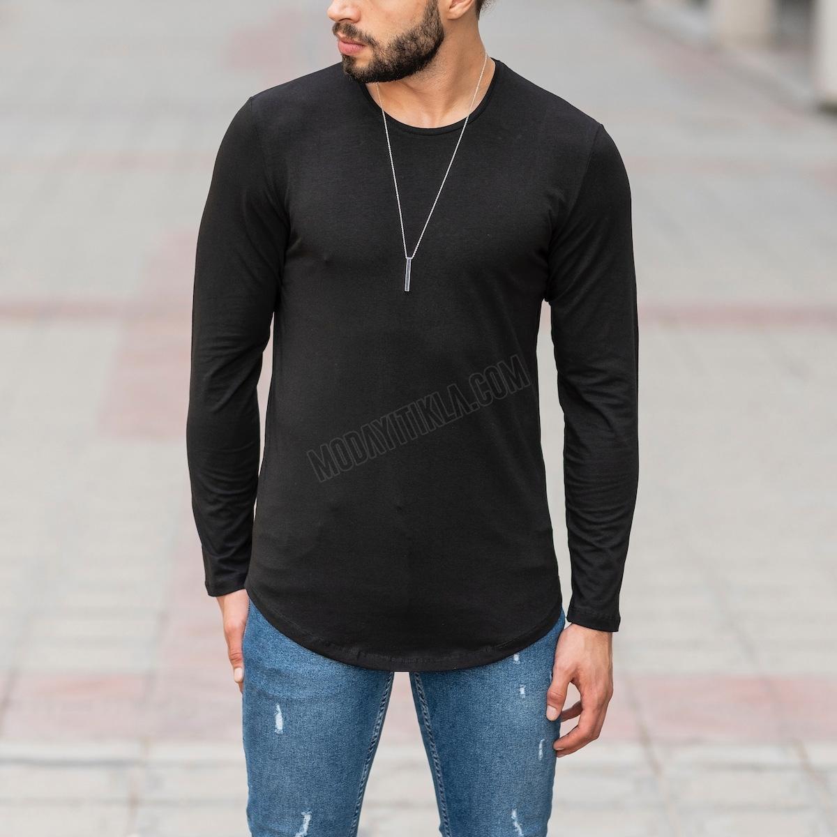Erkek Uzun Kesim Siyah Sweatshirt
