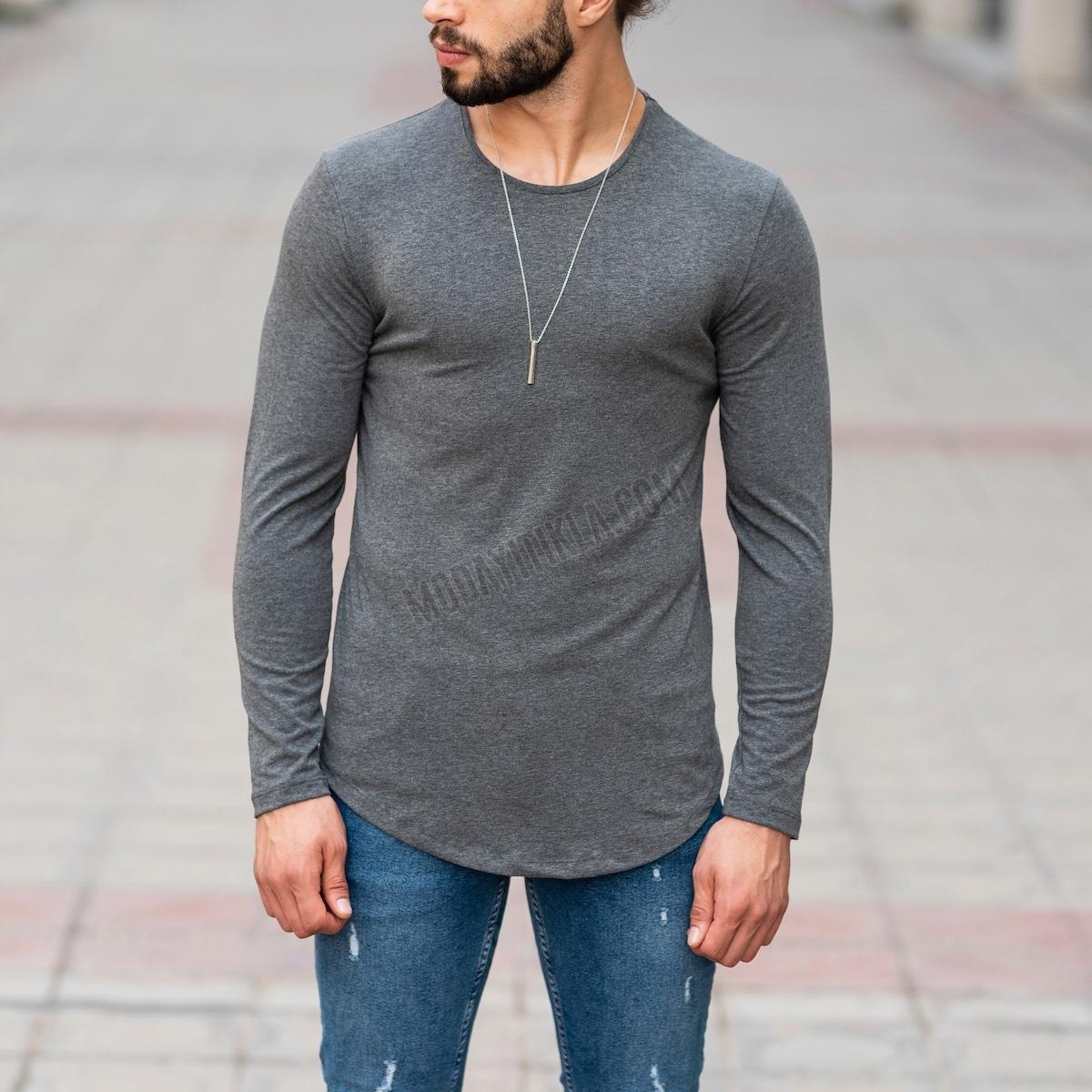 Erkek Uzun Kesim Füme Sweatshirt
