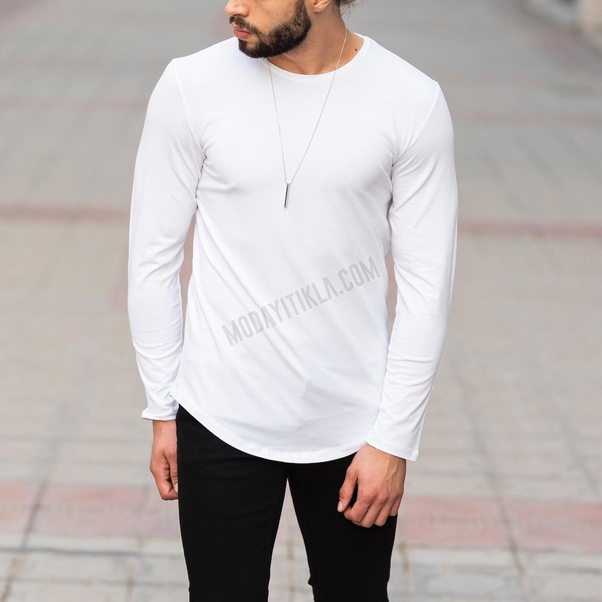 Erkek Uzun Kesim Beyaz Sweatshirt
