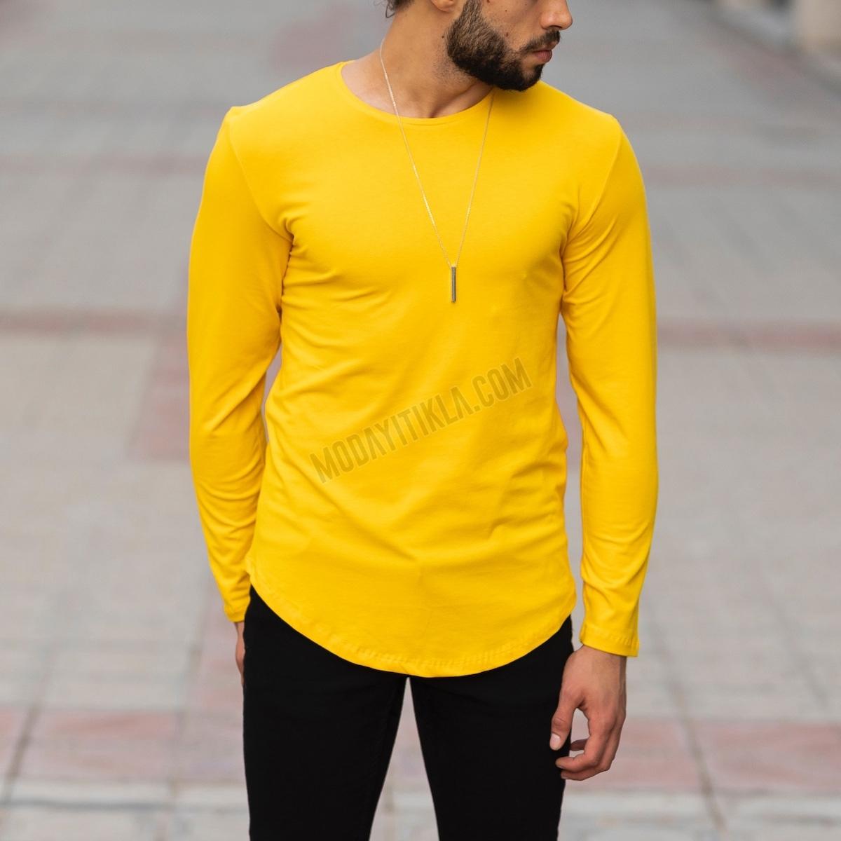 Erkek Uzun Kesim Sarı Sweatshirt