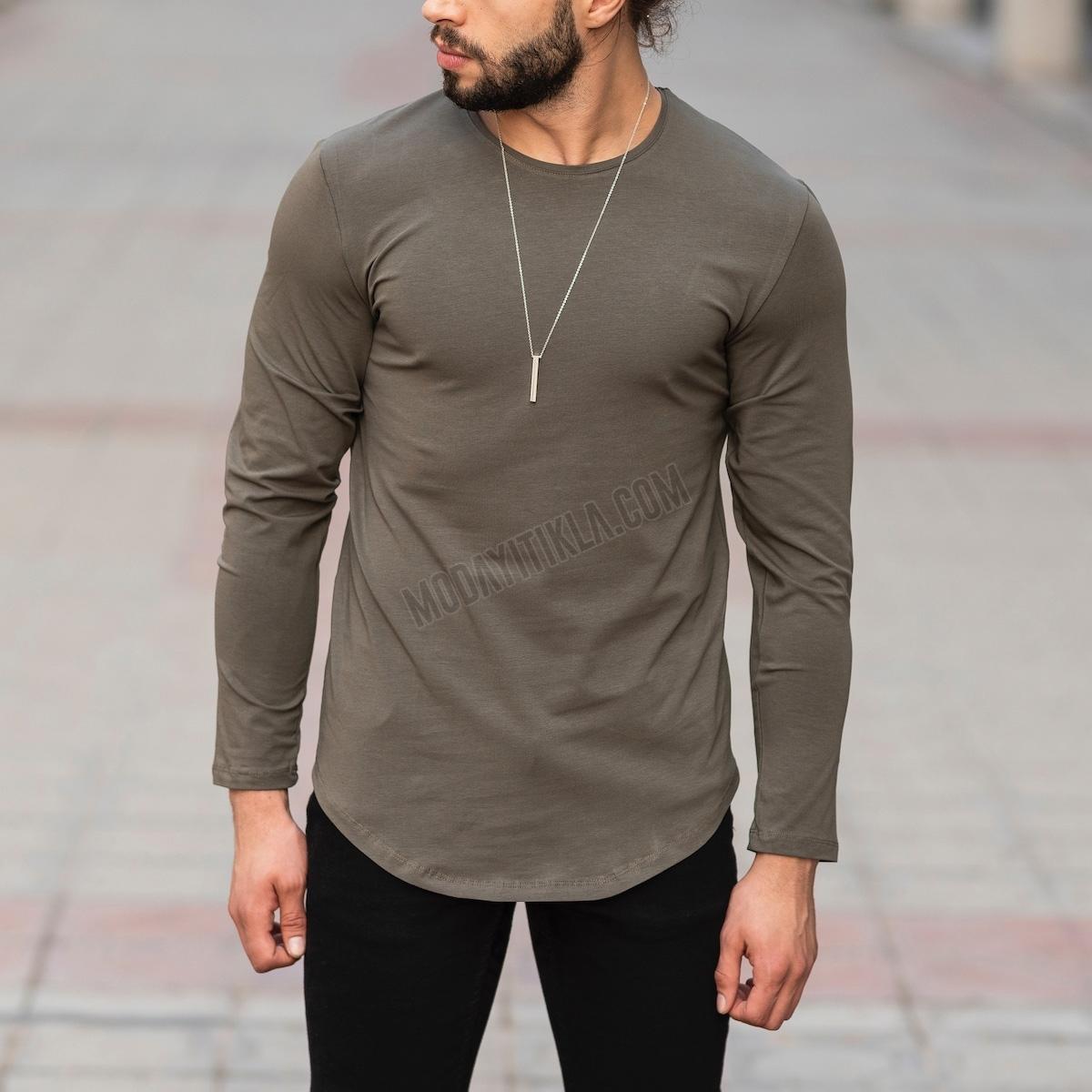 Erkek Uzun Kesim Haki Sweatshirt