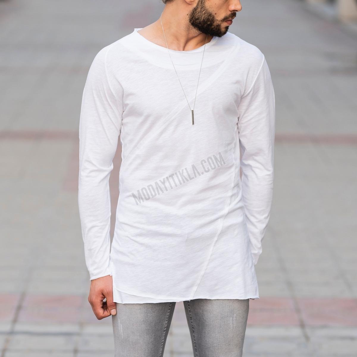 Erkek Uzun Çapraz Kesim Beyaz Sweatshirt