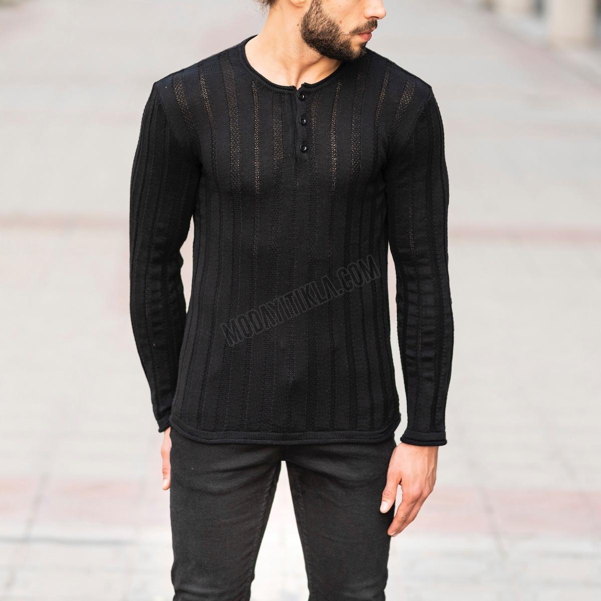 Erkek Transparan Detaylı Düğmeli Siyah Sweatshirt