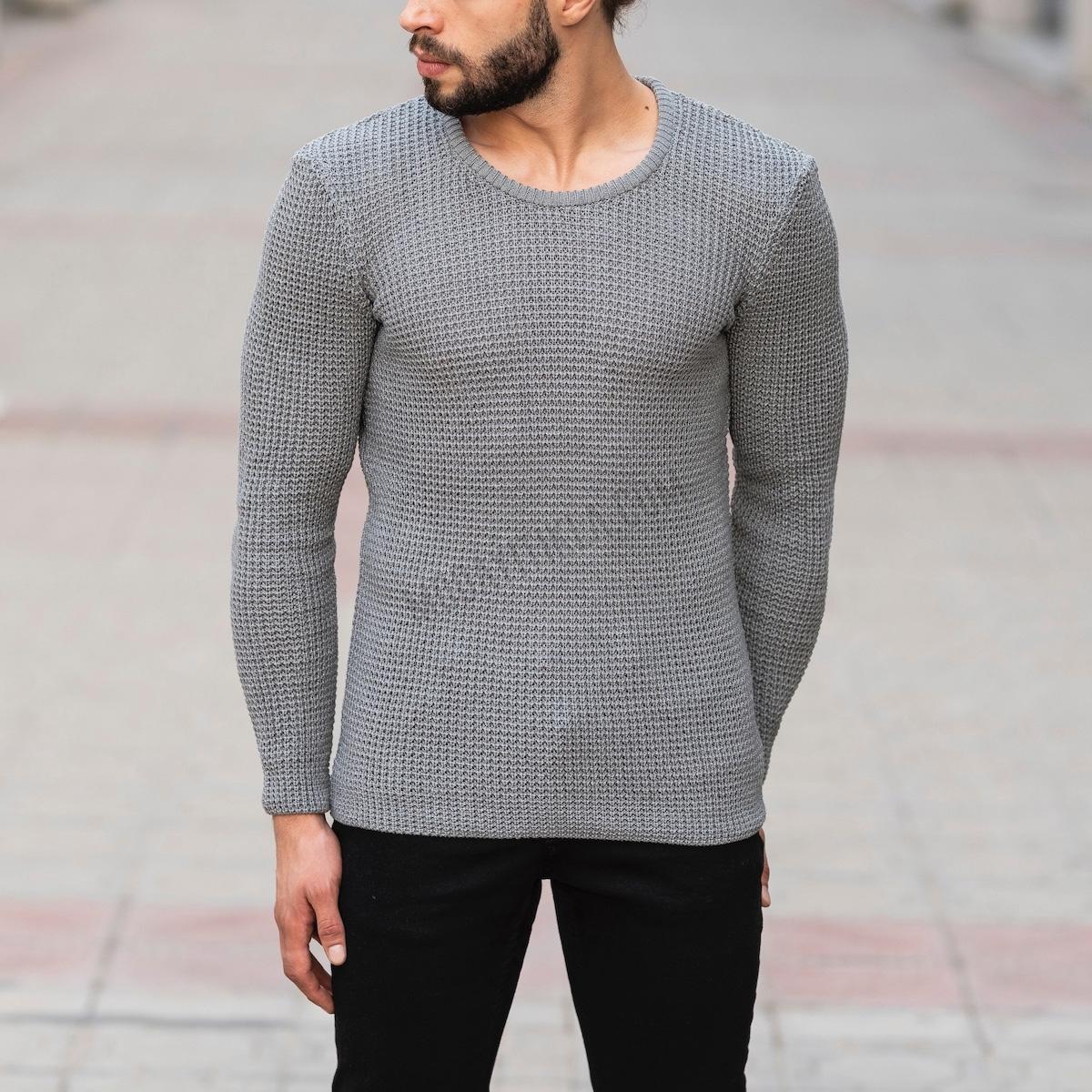 Erkek Örgülü Kalın Gri Sweatshirt