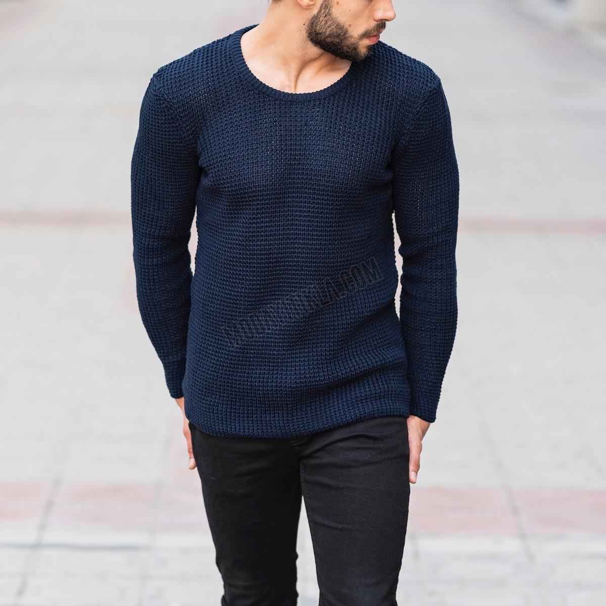 Erkek Örgülü Kalın Lacivert Sweatshirt