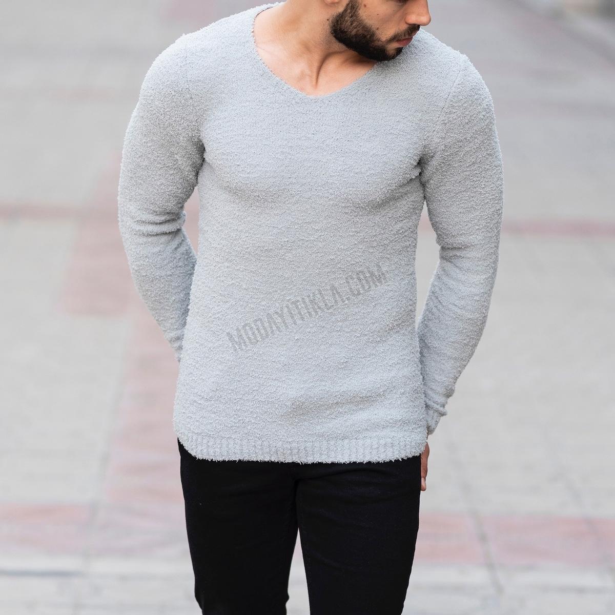 Erkek Havlu Kumaş Gri Sweatshirt