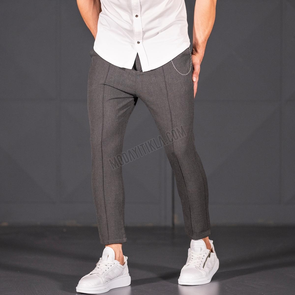 Erkek Dar Paça Fit Zincirli Çizgili Füme Kumaş Pantolon
