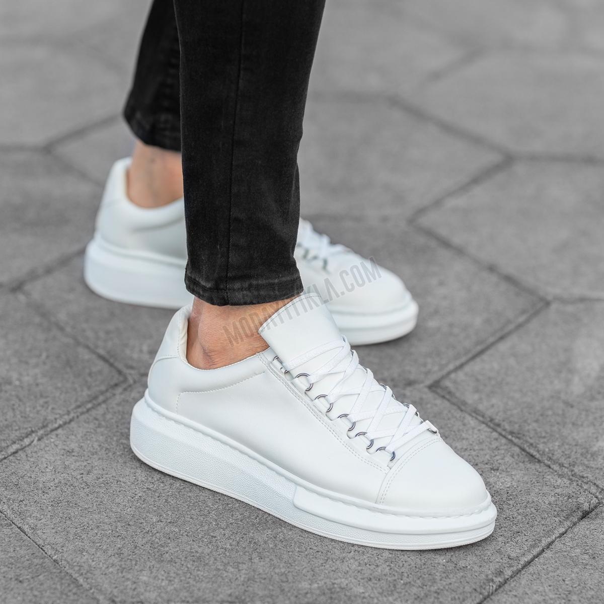 Erkek Yüksek Taban Mox Beyaz Ayakkabı