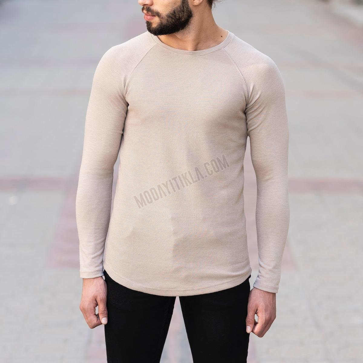 Erkek Gövdesi İşlemeli Detaylı Bej Sweatshirt