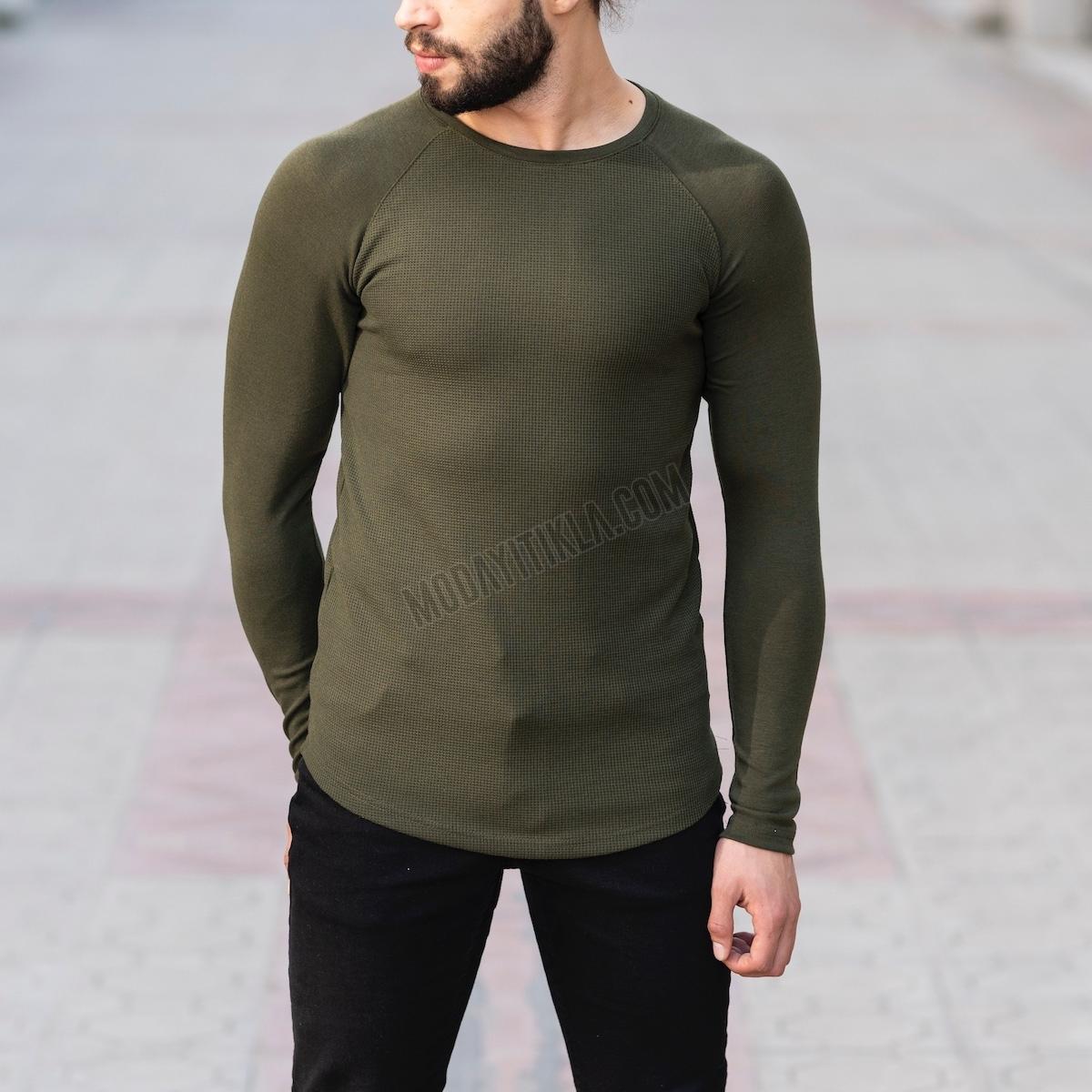 Erkek Gövdesi İşlemeli Detaylı Haki Sweatshirt