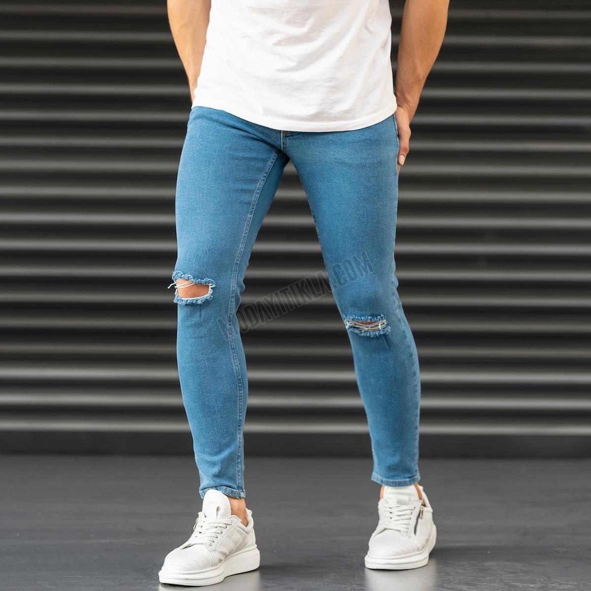 Erkek Dizi Yırtık Dar Paça Fit Mavi Kot Pantolon