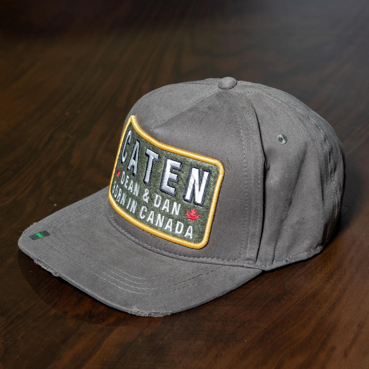 Erkek Gri Caten Yazılı Şapka