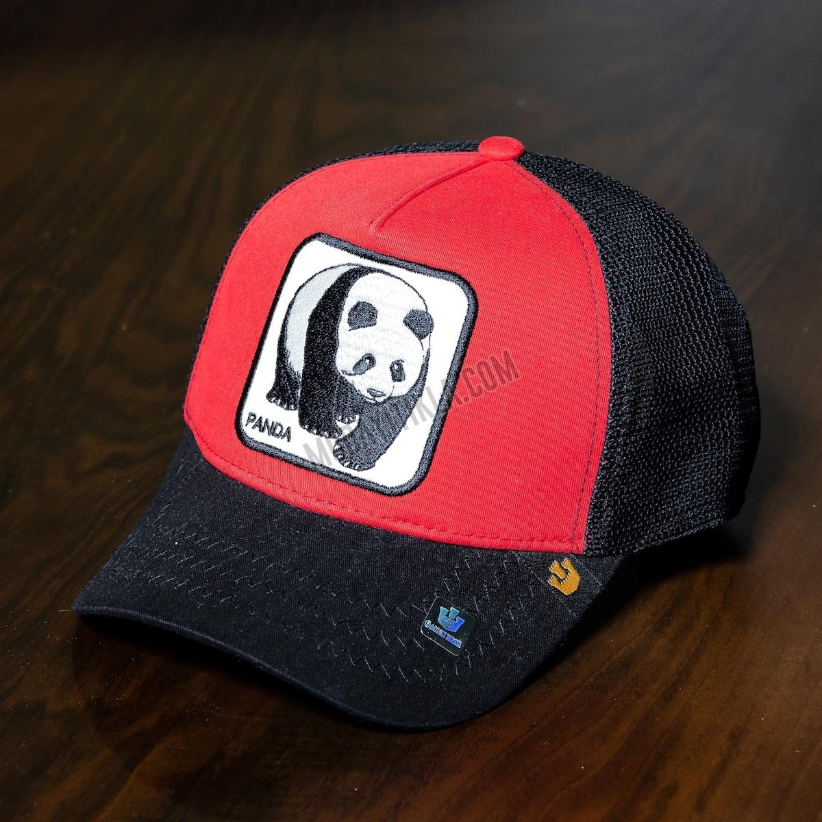 Erkek Kırmızı-Siyah İthal Gooring Bross Panda Şapka