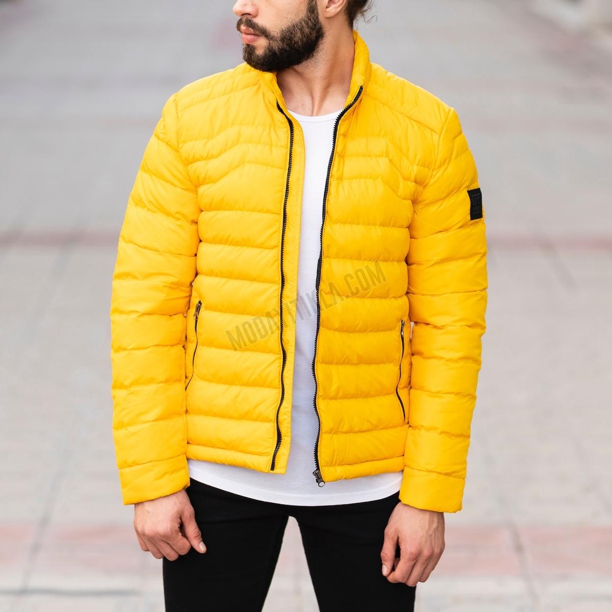 Erkek Mevsimlik Sarı Şişme Ceket