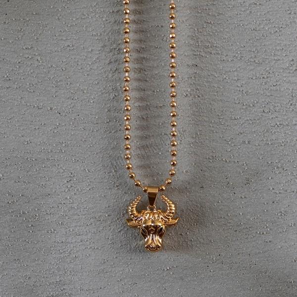 Gold Taurus Uzun Kolye