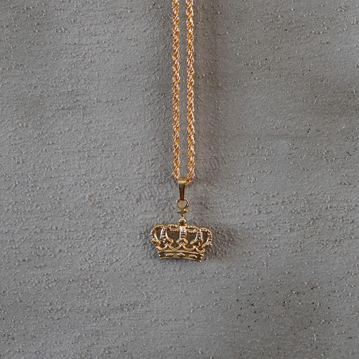 Gold Kral Tacı Uzun Kolye