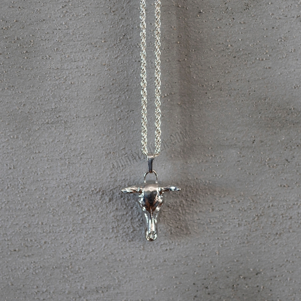 Silver Boğa Boynuzu Uzun Kolye