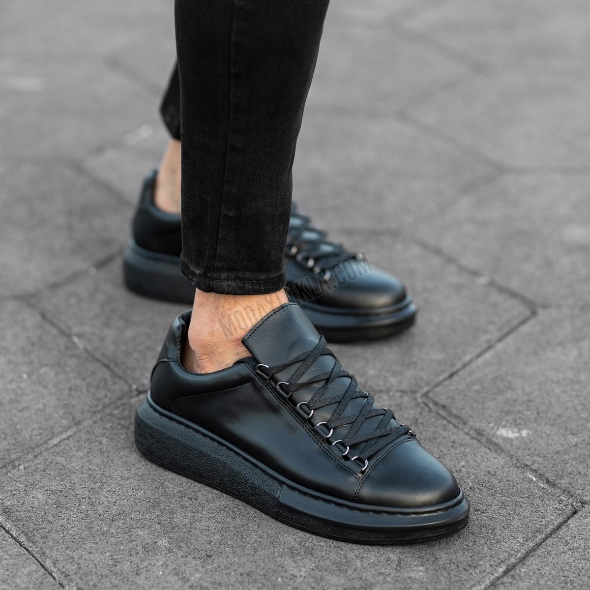 Erkek Yüksek Taban Halka Bağcıklı Full Siyah Ayakkabı