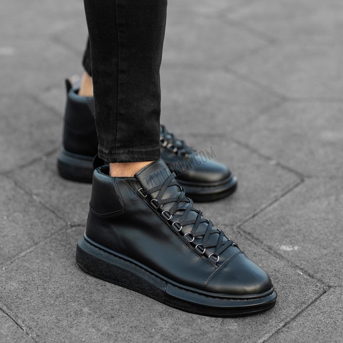 Erkek Yüksek Taban Full Siyah Ayakkabı