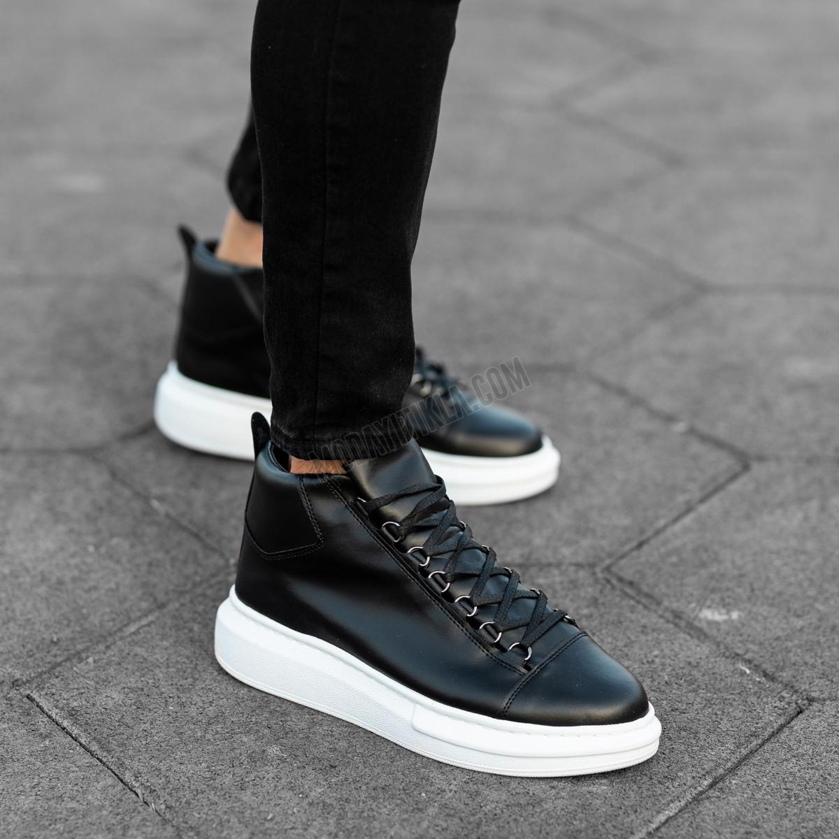 Erkek Yüksek Taban Siyah Beyaz Ayakkabı
