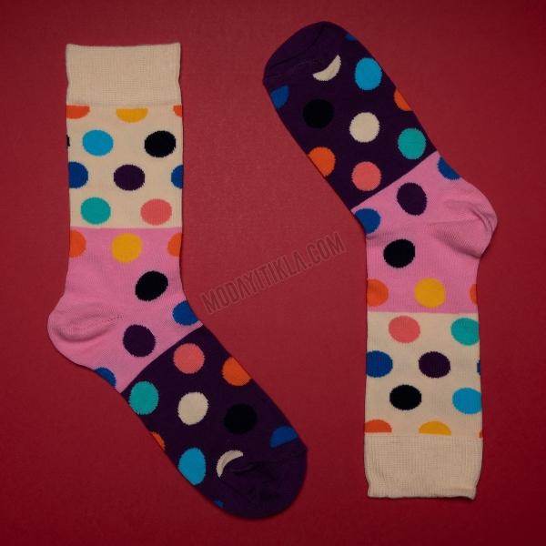 Erkek 3 Renk Puantiyeli Çorap