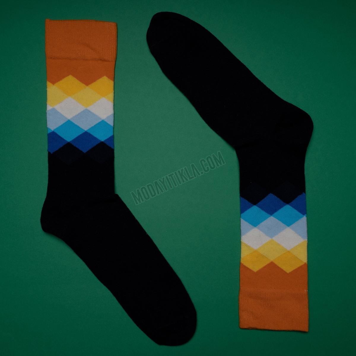 Erkek Baklava Desenli Siyah Turuncu Çorap