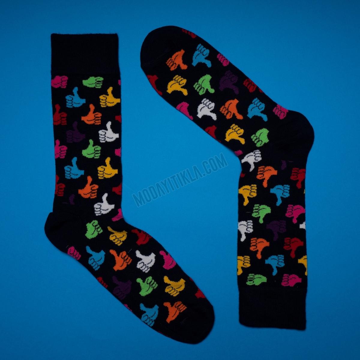 Erkek Okey Desenli Siyah Çorap