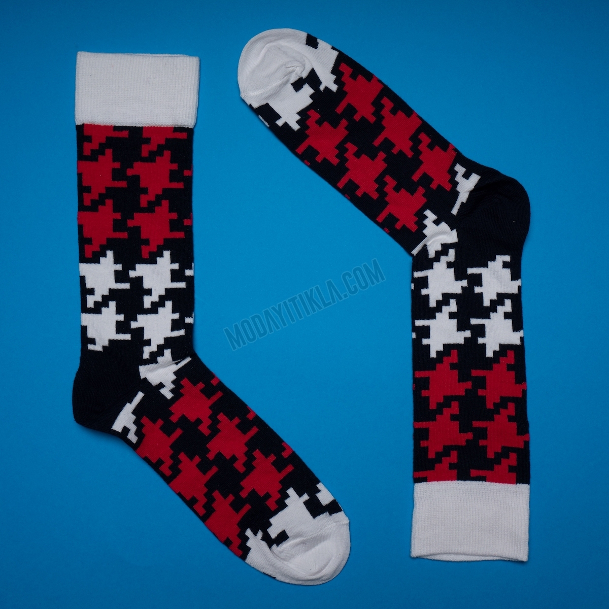 Erkek Desenli Siyah Beyaz Çorap