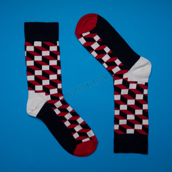 Erkek 3D Desenli Siyah Çorap