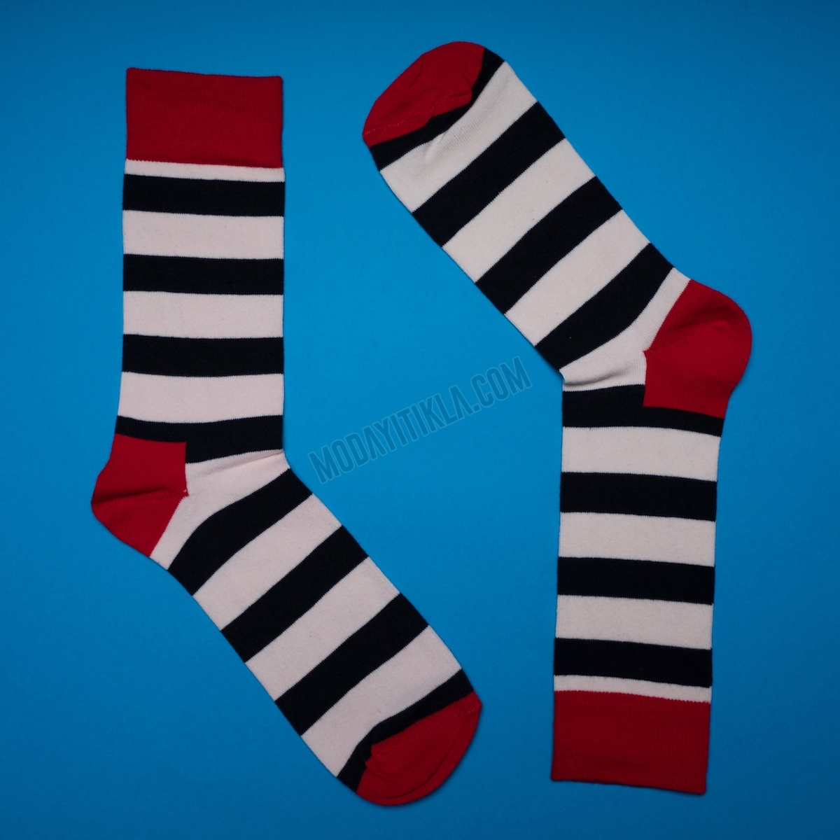 Erkek Şerit Desenli Siyah Çorap